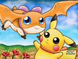 Patamon and Pikachu by 29steph5