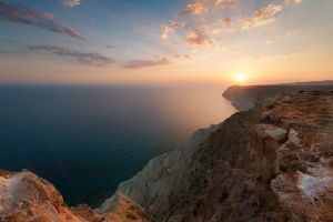 Cliffs at the sunset by hateom