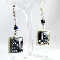 Domed Black Circuit Board Earrings by Techcycle