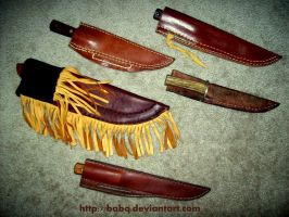 Assorted Knives with Sheaths by BaBQ