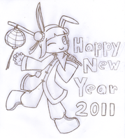 Happy New Year 2011 Line Art by SalemTheCat23