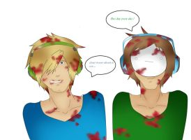 pewdiepie and cry:blood shed by Eddsworldzinnmister2