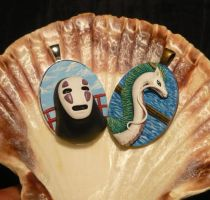 Haku and No-Face - handsculpted 3D Pendants by Ganjamira