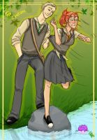 Draco and Ginny by the lake by reggieveggie