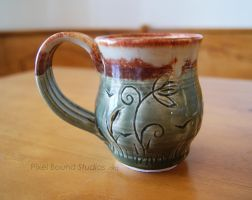 Wetlands Themed Green Ceramic Mug by ashynekosan