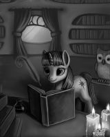 Twilight in Her Study - B+W by LaurenMagpie