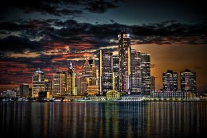 Detroit Skyline - HDR by II-McCloud-II