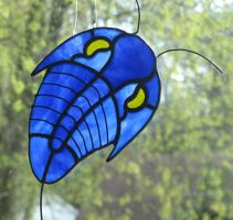 Blue Stained Glass Trilobite by trilobiteglassworks