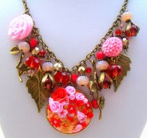 Polymer Clay Christmas Statement Necklace, Vintage by cynamonspice