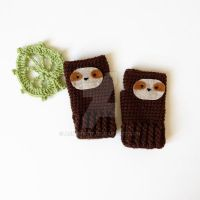 SLOTH Fingerless Gloves by annemisfit