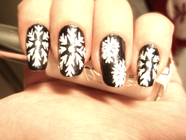 Snowflakes nail art by NnNiLe