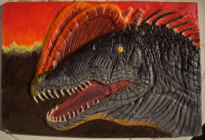 Painted Dilophosaurus relief by thenumber42