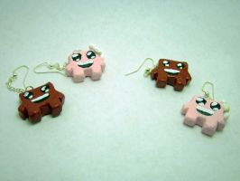 Super Meat Boy and Bandage Girl Earrings by JinxedTarotCard