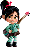 Vanellope and her Guitar by Xelku9