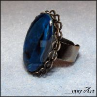 Blue Paua Shell Ring by 1337-Art