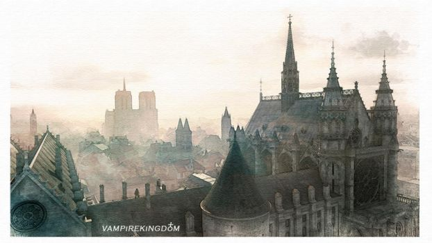 Notre Dame Watercolour 4 by vampirekingdom
