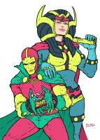 Mister Miracle and Big Barda by RamonVillalobos