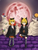 Rin and Len - Black Cats of the Eve / Halloween by Konata-C