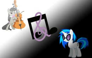 Simple Octavia and Vinyl Scratch Wallpaper by axelrules1231