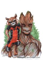 Rocket and Groot by Mistiqarts