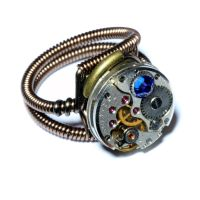 Steampunk Ring with Capri Blue Crystal by CatherinetteRings