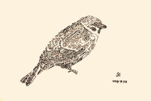 Animal typography - Sparrow by techitch34