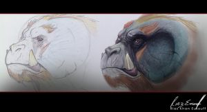 Alien-ape Concept Sketch by riazkhan