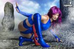 Superhero pose number one - Psylocke landing by cosplayerotica
