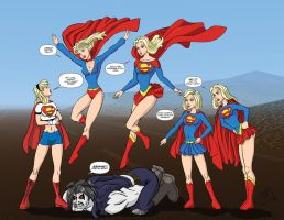 Supergirls vs Lobo Commission by mhunt