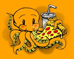 Pizzapuss Tee Design Color by rawjawbone