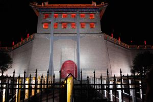 Xi'an city wall by night 1 by wildplaces
