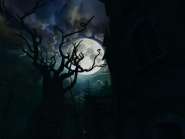 Haunted house background 1 by indigodeep