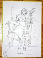 Drizzt vs. Artemis sketch by skorpi
