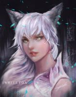 White fox by Jackiefelixart