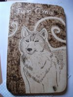 Wolf Pyrography Tray for Grandma by weisewoelfin