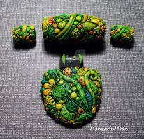 Enchanted Garden Pendant and Beads by MandarinMoon