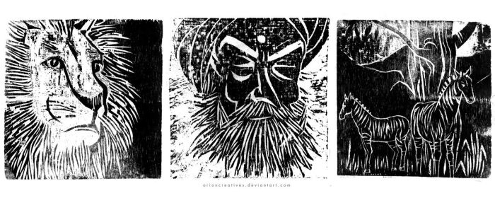 Three woodcut prints by orioncreatives