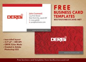 Red Business Card Template in Minimalist Style by fiftyfivepixels