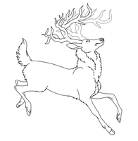 FREE Stag Lineart -REDONE- by RizaHarmona