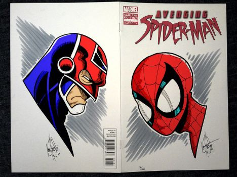 Captain Britain and Spider-Man Sketch with colours by kstewart86
