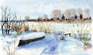 Winter landscape 19. Watercolour. by alartstudio