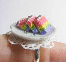 rainbow sponge cake slices ring from NeatEats shop by rhonda4066