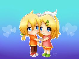 Rin and Len : Chibi love by LadyGalatee