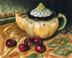 Teapot and Cherries Still Life by spudsy2
