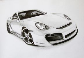 white porsche cayman by donescu