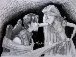 Tangled: Flynn and Rapunzel by DrawingArtist3D