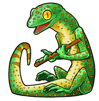 Flute, the musical gecko. by kiraxlee