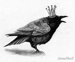 Crow with crown by AnnaShell