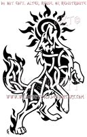 Howling Sun Wolf Knotwork Design by WildSpiritWolf