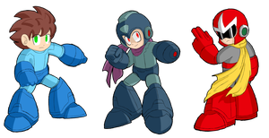 SSB4 Mega Man alternate costumes 1 by Estefanoida